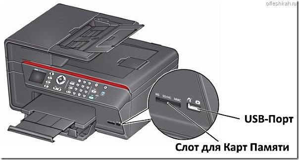 Печать фотографий с флешки при помощи принтера с входами для карт памяти и USB-флешки