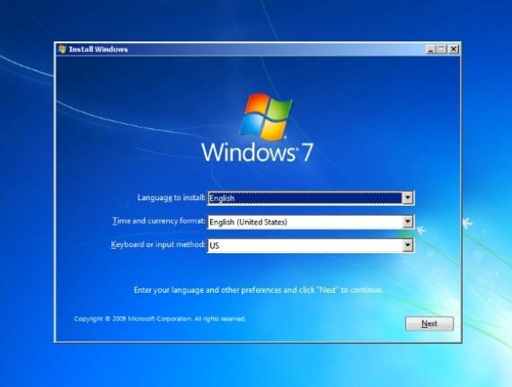 Установка Windows 7 с флешки, начальный экран установки